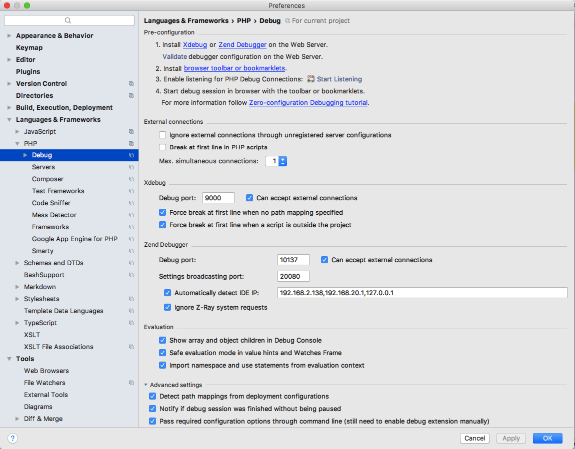 PhpStorm Debug Settings